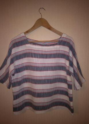 Стильный кроп-топ / блузка в полоску laura ashley (100% хлопок)