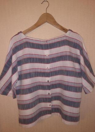 Стильный кроп-топ / блузка в полоску laura ashley (100% хлопок)2 фото