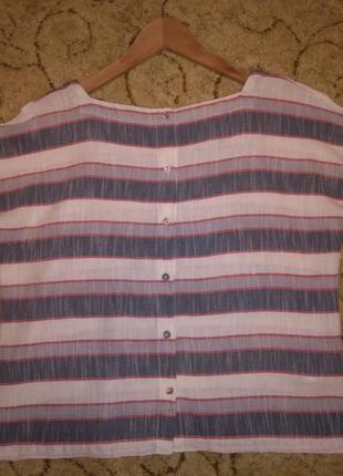 Стильный кроп-топ / блузка в полоску laura ashley (100% хлопок)3 фото
