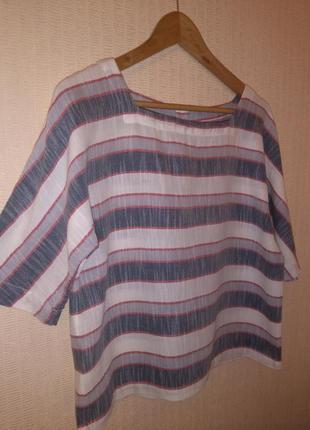 Стильный кроп-топ / блузка в полоску laura ashley (100% хлопок)5 фото