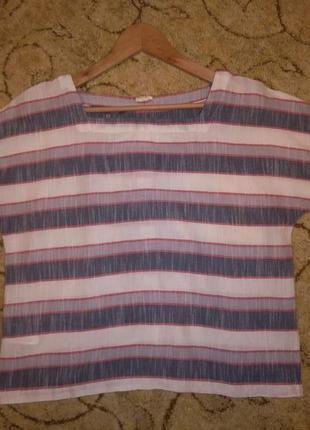 Стильный кроп-топ / блузка в полоску laura ashley (100% хлопок)9 фото