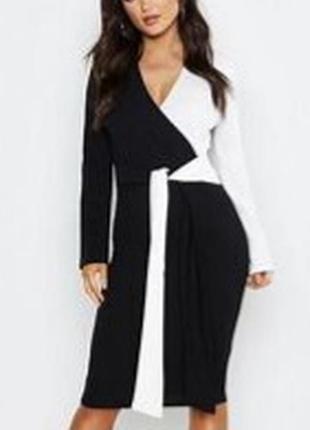 Шикарное чёрное белое платье миди по фигуре с поясом