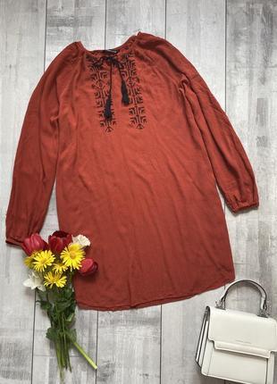Вишиванка, вишивана сорочка кольору цегли, ручна вышивка