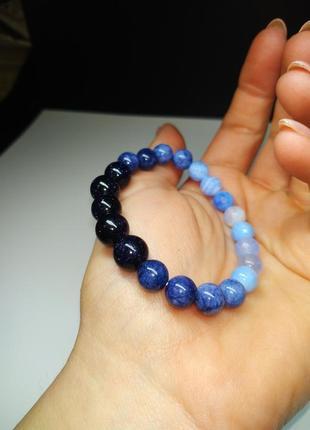 Браслет авантюрин, ангелит, голубой агат, лунный камень