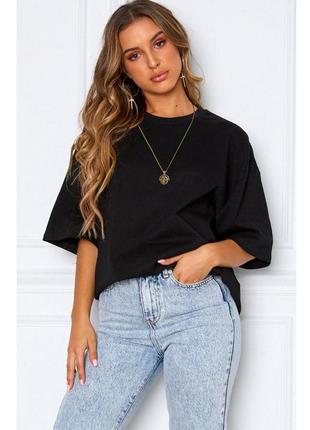 Чёрная футболка оверсайз унисекс хлопковая fruit of the loom.