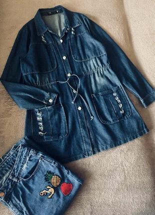 Фактурное рваное джинсовое платье/рубашка тренч кардиган с рукавами hengsheng jeans/zara.