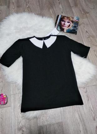 Женская хб футболка блуза блузка с белым воротником стрейчевая рубашка обманка