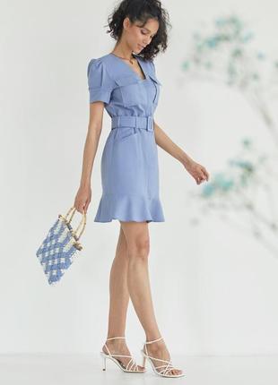 Лёгкое летнее льняное платье голубое лето новая коллекция