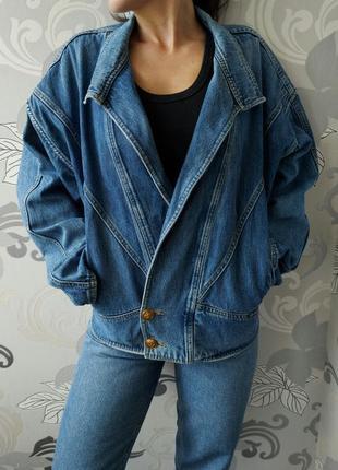 Синяя винтажная ретро джинсовая куртка курточка пиджак жакет косуха оверсайз.