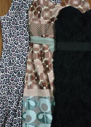 Лот 3шт платья чёрное в розах, платье на тонких брительках, леопадовое с рюшей