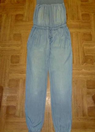 Классный джинсовый комбинезон с открытыми плечами летний denim life