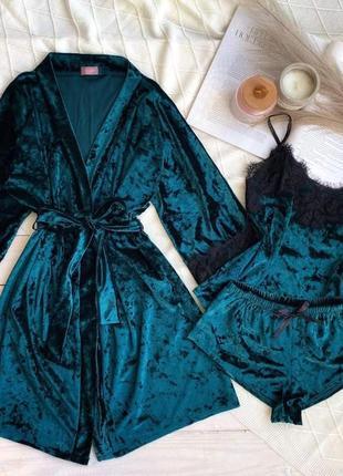 Пижама халат майка шорты велюр