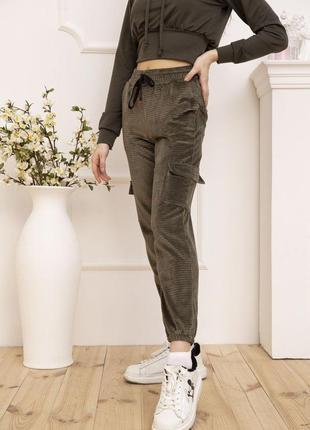Стильные демисезонные женские штаны брюки штаны-карго велюровые женские штаны с манжетами