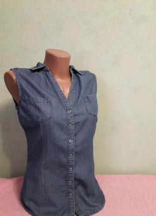 Джинсовая рубашка жилетка