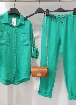 Костюм 💝льняной, свободная рубашка и бриджи, до 52 р-ра, 7074/368, бирюза1 фото