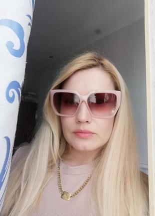 Эксклюзивные брендовые розовые солнцезащитные женские очки на большое и среднее лицо 2021