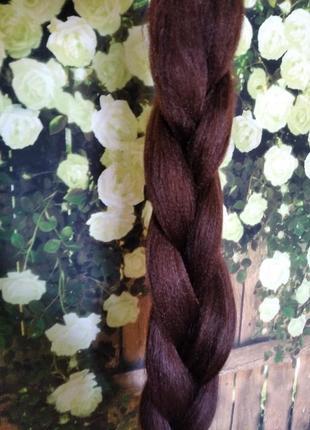 Канекалон каштанового цвета, накладные волосы, коса, шиньон