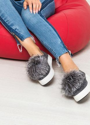 Кожаные слипоны/слипы/слиберы/туфли на платформе с мехом  с пумпонами рр 36-41