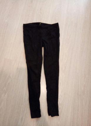Узкие коттоновые брюки h&m с застежкой сбоку l-xl