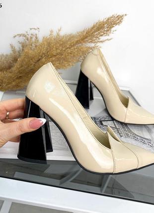 Туфли бежевые женские чёрные лаковые лак кожаные кожа сливочные молоко молочные айвори