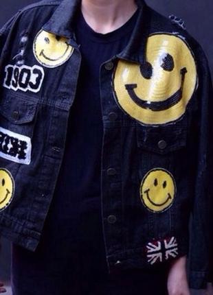 Пиджак куртка бомпер denim oversize с смайликами пайетки