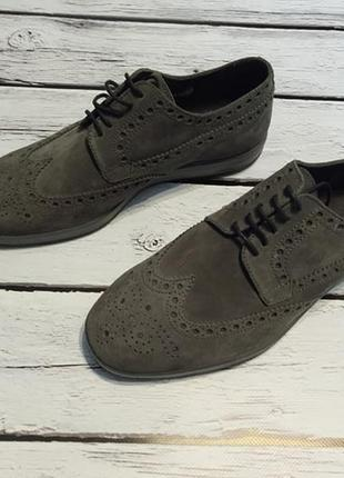 Туфлі броги замшеві італійські замшевые итальянские натуральные туфли с перфорацией