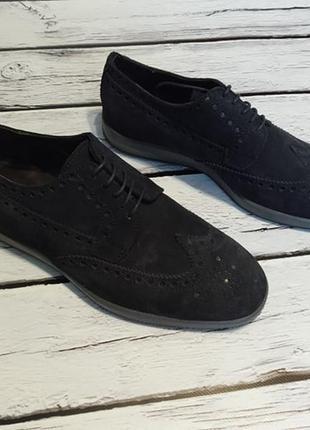 Туфлі броги замшеві італійські замшевые итальянские натуральные броги с перфорацией
