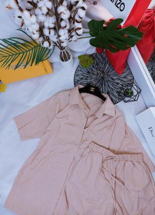 Летний женский костюм ткань: лён, рубашка и шорты