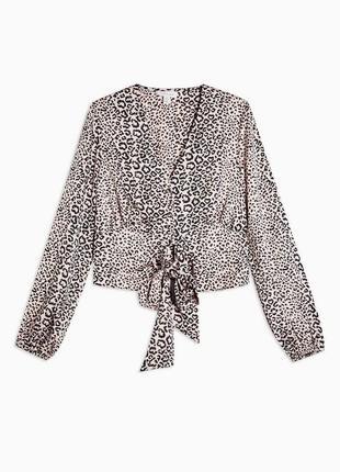 Атласна блуза в леопардовий принт