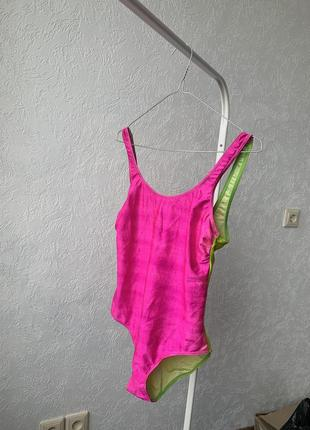 Сдельный купальник розовый зелёный неон