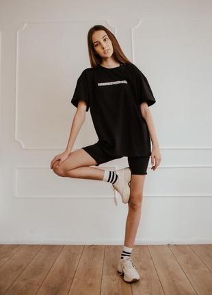 Женский костюм футболка + шорты comfort черные с рефлективным принтом