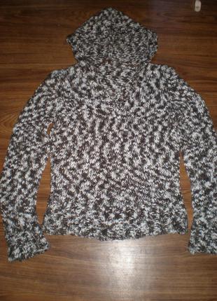 Меланжированный кардиган (свитер) с капюшоном.
