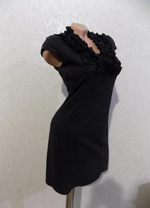 Платье черное коттоновое с жабо размер 44-46