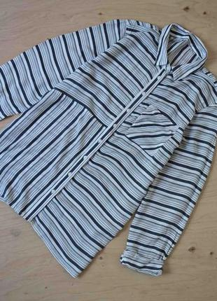 Рубашка  блузка  стильная удлиненная  в полоску ткань натуральная peacocks