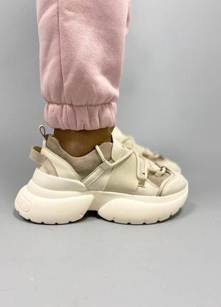 Стильные женские кожаные кроссовки, натуральная кожа
