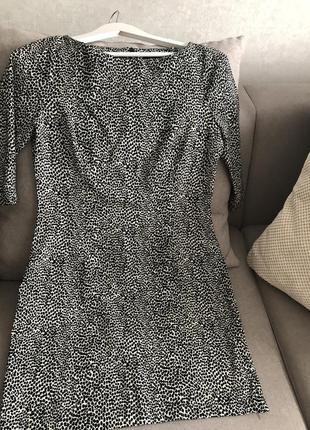 Платье с рукавом принт далматинец