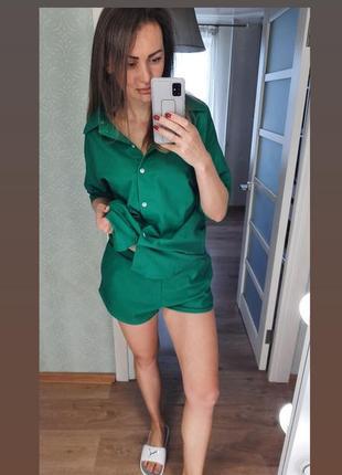 Льняной костюм с шортами