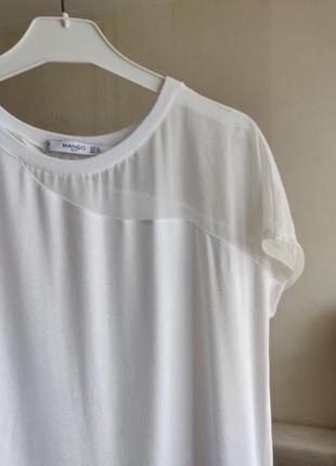 Футболка топ блуза белая mango