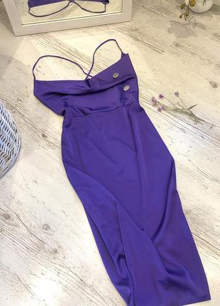 Сліп дрес міді oh polly💜 шелковое атласное  платье миди