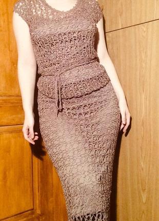 Костюм,юбка + топ,майка,сетка,вязанный комплект на лето,платье