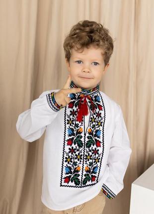 Новинка! вышиванка для мальчика с очень красочной вышивкой