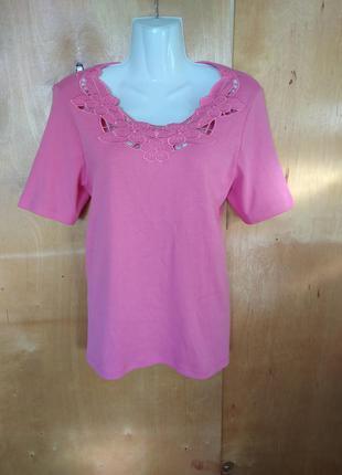 Стильная кофта футболка блуза розовая с вышивкой р. 14 или 50-52