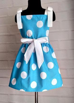 """Голубое платье с принтом """"горох"""" на завязочках. детское платье из хлопка110-146рр"""