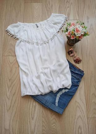 Свободная белая блуза на резинке, м