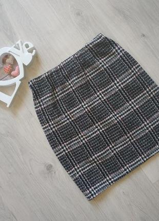 Трендовая брендовая женская юбка в клетку из классного материала