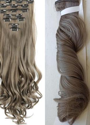 Накладные волосы на заколках русые пепельные шиньон искусственные волосы
