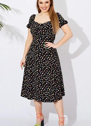 Платье в горошек летнее короткий рукав