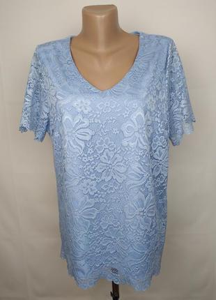 Блуза кружевная голубая на подкладке uk 16/44/xl