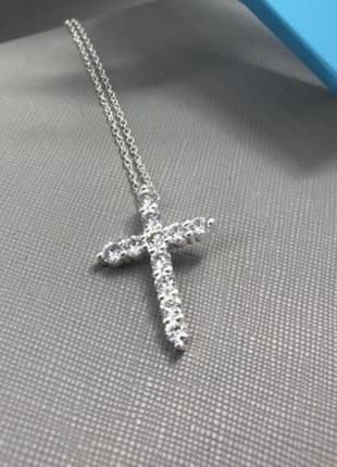 Серебряный крестик и серебряная цепочка
