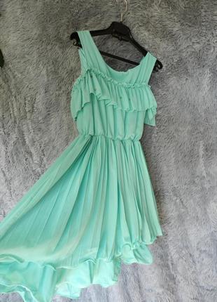 ✅ короткое пышное платье шифон с воланами